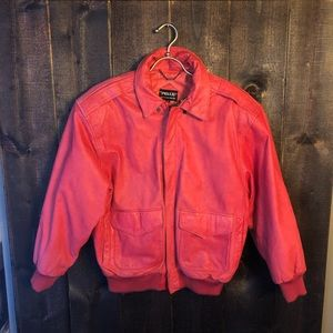 Vintage Pelle Leather Bomber Jacket Coral Salmon